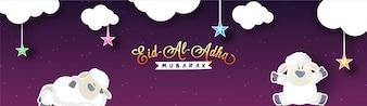 Eid-Al-Adha Mubarak disegno di bandiera dei social media.