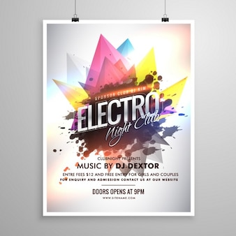 Electro night club modello di party music volantino