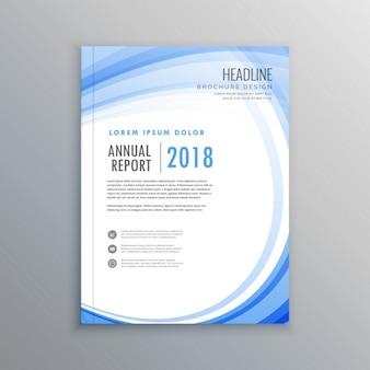 Elegante brochure volantino modello di progettazione onda blu