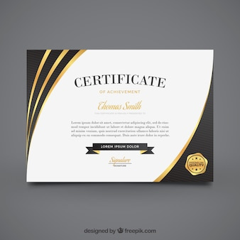 Elegante certificato di realizzazione con elementi d'oro