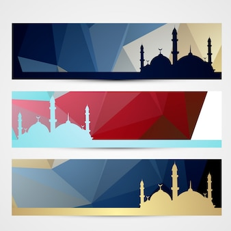 Elegante insieme di header ramadan e eid