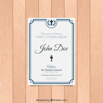 Elegante invito di prima comunione