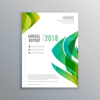 Elegante modello di progettazione copertina di una rivista verde