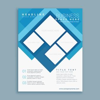 Elegante modello di progettazione volantino blu brochure con forme quadrate