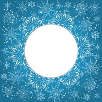 Elegante sfondo di Natale con fiocchi di neve e luogo per il testo. Astratto sfondo invernale. Illustrazione Vettoriale.