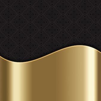 Elegante sfondo elegante con struttura in oro e il modello del damasco