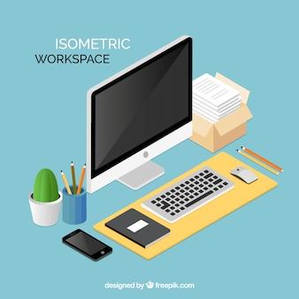 Elegante spazio di lavoro isometrico