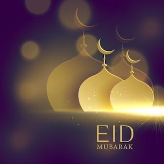 Eleganti moschee forme dorate su sfondo viola bokeh per festival eid