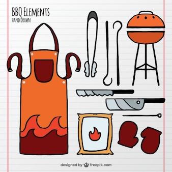 Elementi bbq disegnati a mano e grembiule