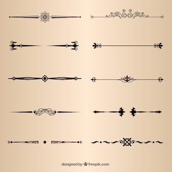 Elementi della pagina divisori decorativi vettore