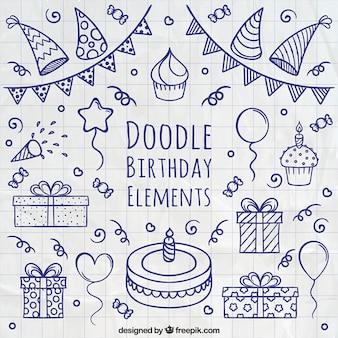 Elementi di compleanno Doodle