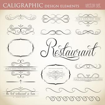 Elementi di design calligrafici per abbellire il layout