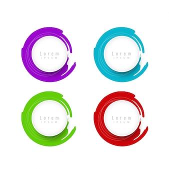 Elementi di design circolari colorati con testo spaziale