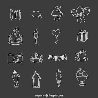 Elementi di partito di compleanno disegnati a mano