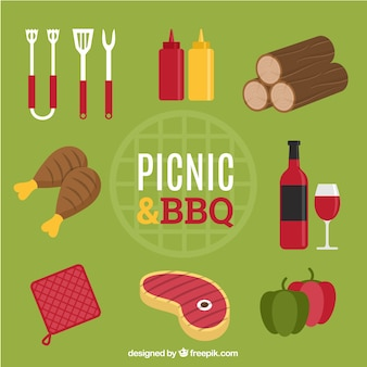 Elementi di picnic e un barbecue con il cibo