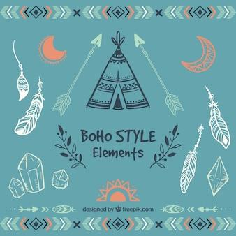 Elementi di stile boho Sketchy