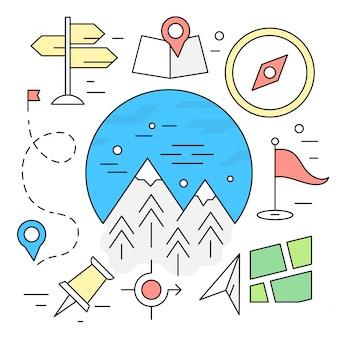 Elementi di viaggio lineari Escursioni Icone di navigazione avventura