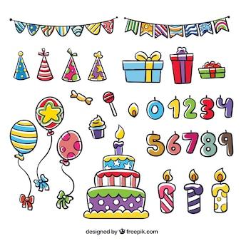 Elementi disegnati a mano compleanno colorato set
