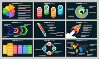 Elementi infografici colorati per i modelli di presentazione.