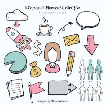 Elementi infographic decorativi in stile disegnato a mano