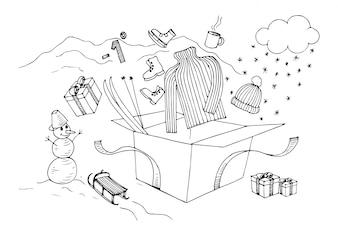 Elementi invernali mano disegno vettoriale