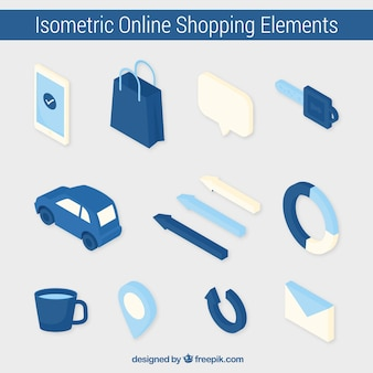 Elementi isometrici blu del pacchetto negozio online