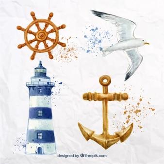 Elementi nautici acquerello con schizzi