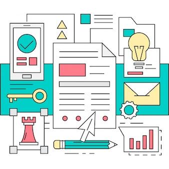 Elementi vettoriali di ufficio e business lineare Sfondi colorati