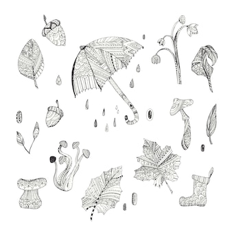 Elemento collezione autunno con il disegno del modello