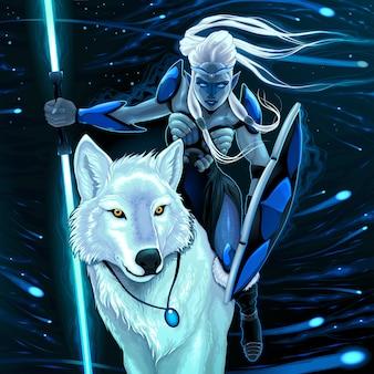 Elf con lupo bianco Illustrazione di fantasia vettoriale