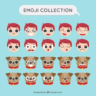 Emoji set con il ragazzo e il cane in design piatto