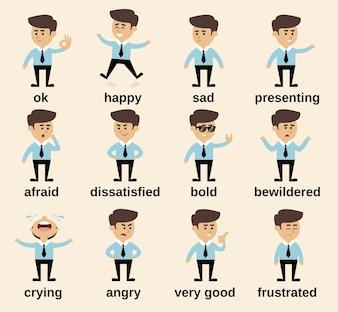 Emoticon di personaggi dei cartoni animati d'affari impostato isolato illustrazione vettoriale