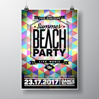 Estate beach party poster design geometrico