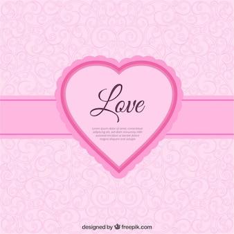 Etichetta amore forma di cuore rosa