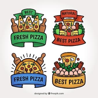 Etichetta pizza design piana