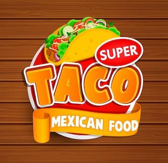 Etichetta Taco, logo, adesivo.