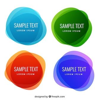 Etichette astratte rotonde in stile colorato