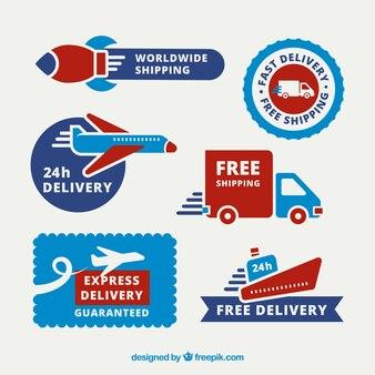 Etichette di consegna con trasporti divertenti
