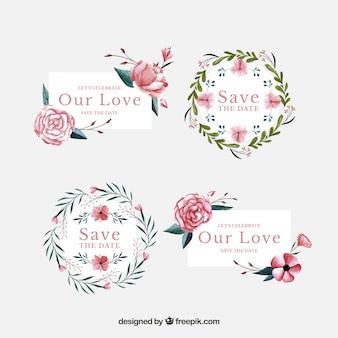 Etichette di nozze con fiori di acquerello