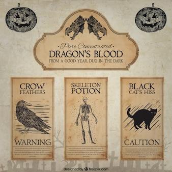 Etichette sangue disegnata a mano del drago