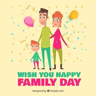 Famiglia sfondo giornata con palloncini e coriandoli