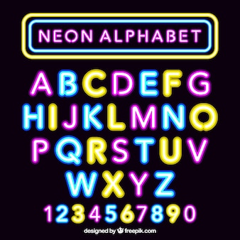 Fantastic neon alfabeto