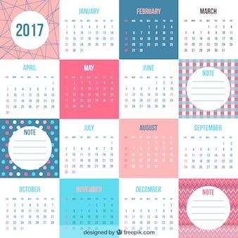 Fantastico 2017 calendario nel design piatto