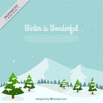Fantastico sfondo invernale con alberi e neve in design piatto