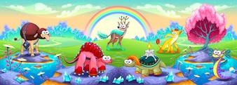 Fantasy animali in un paesaggio dei sogni Illustrazione fantasy vettoriale