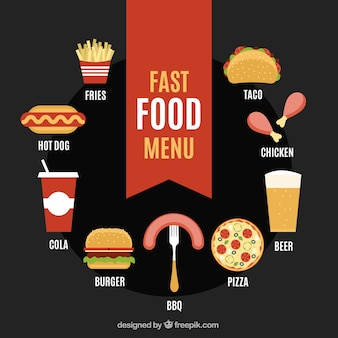 Fast food menu in stile piatto