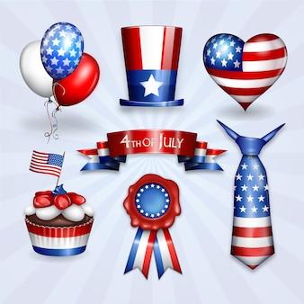 Felice 4 luglio di American Independence Day sette adesivi di sovrapposizione di elementi di design