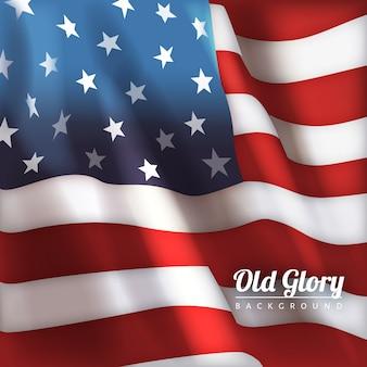 Felice 4 luglio Giorno dell'Indipendenza americana Sfondo della bandiera di vecchia gloria