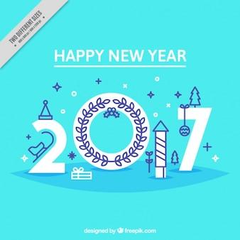 Felice anno nuovo con elementi in stile piatta
