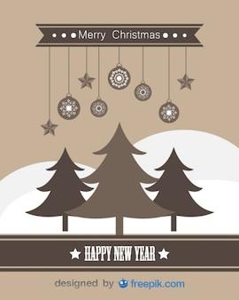 Felice anno nuovo e buon natale biglietto di auguri